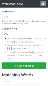 Wordscapes Solver